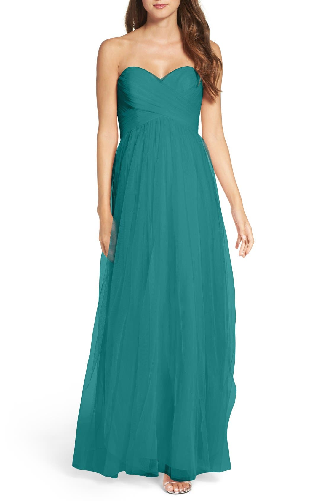 Alternate Image 1 Selected - WTOO Convertible Strap Tulle Gown