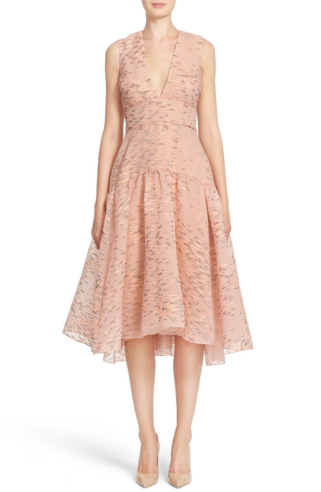 Alternate Image 1  - Lela Rose Minnow Metallic Fil Coupé Dress