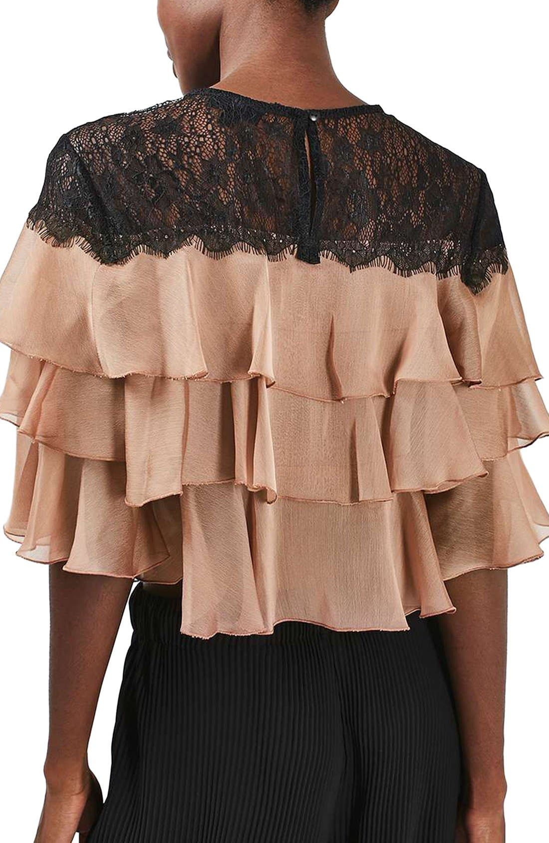 Alternate Image 3  - Topshop Layer Ruffle & Lace Crop Top