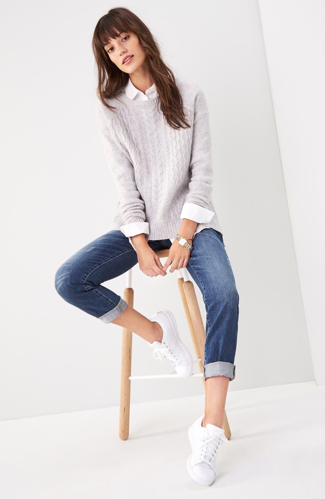 Alternate Image 2  - Halogen® Cable Knit Wool & Cashmere Sweater (Regular & Petite)
