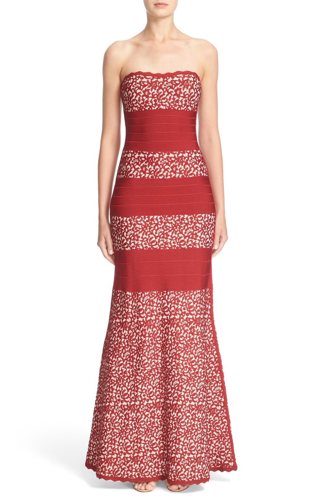 Alternate Image 1  - Herve Leger Raised Lace Detail Strapless Bandage Mermaid Gown