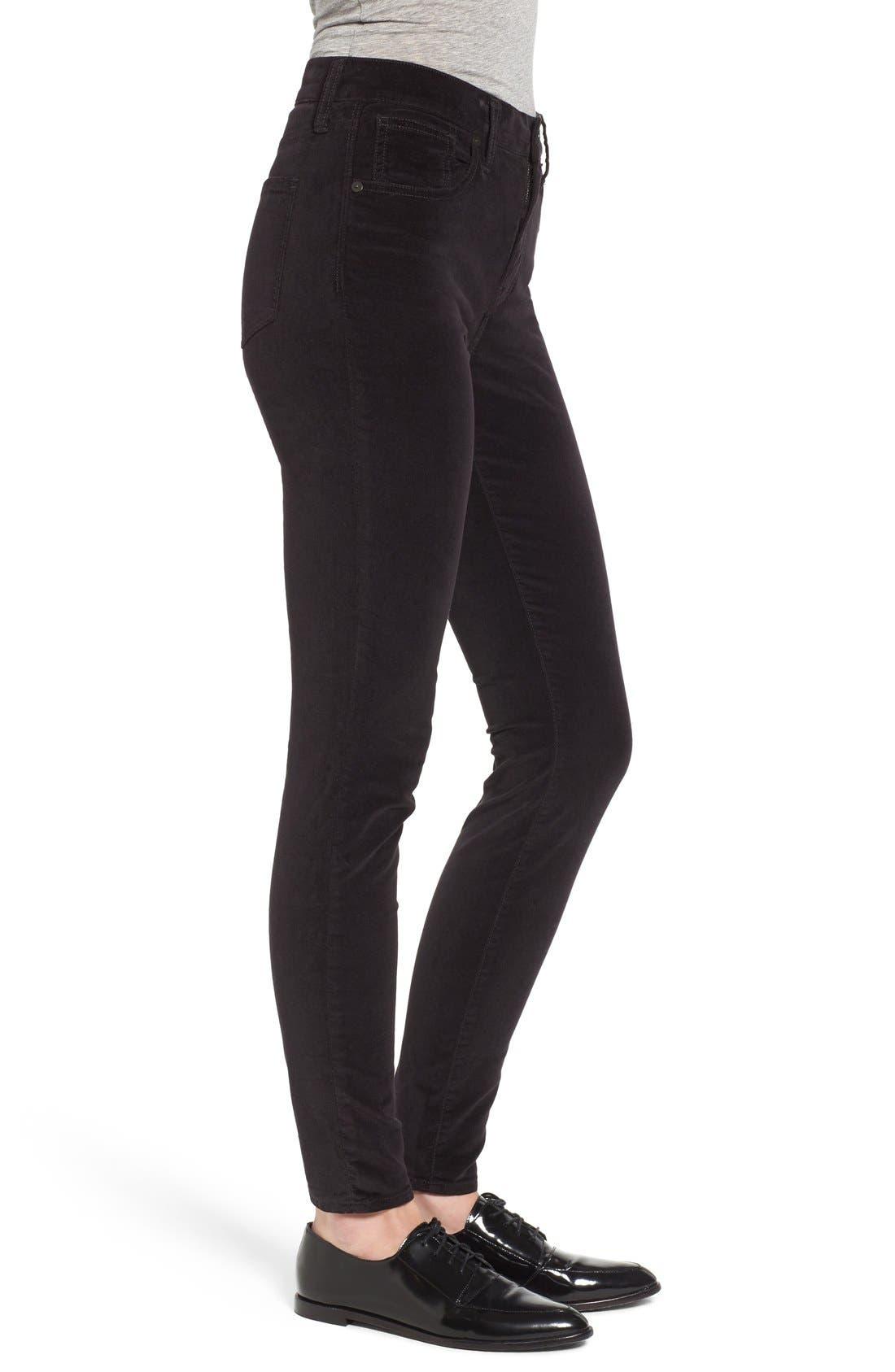 Alternate Image 3  - Madewell High Rise Velvet Skinny Jeans