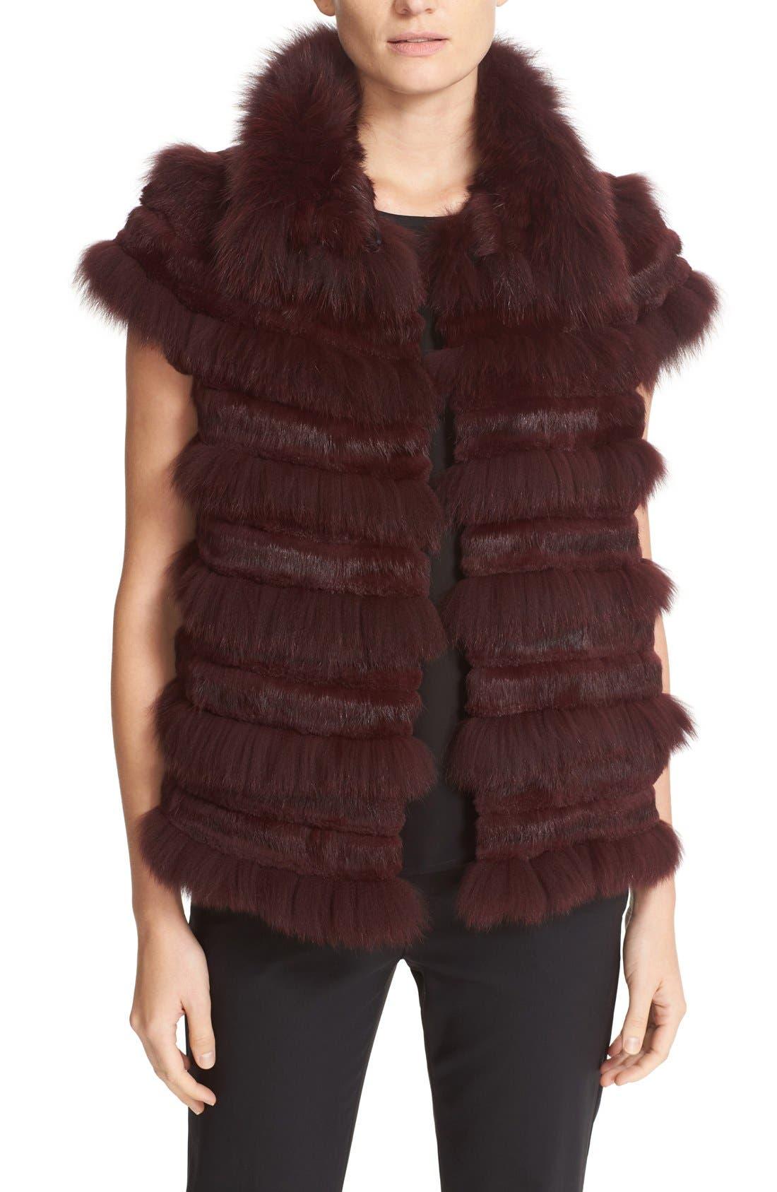 Tory Burch Blaire Genuine Rabbit & Fox Fur Vest