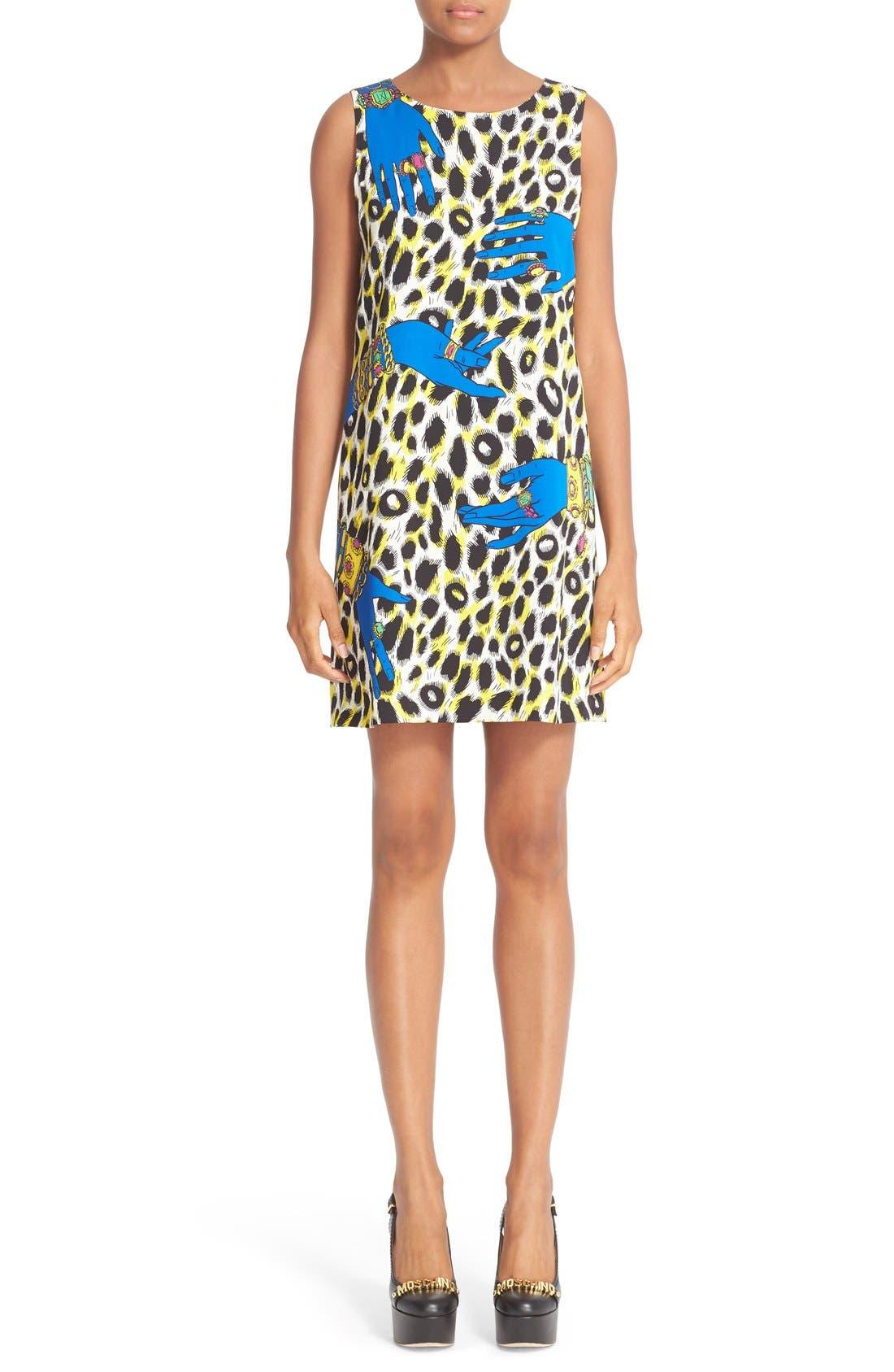 MOSCHINO Leopard Print Satin Shift Dress