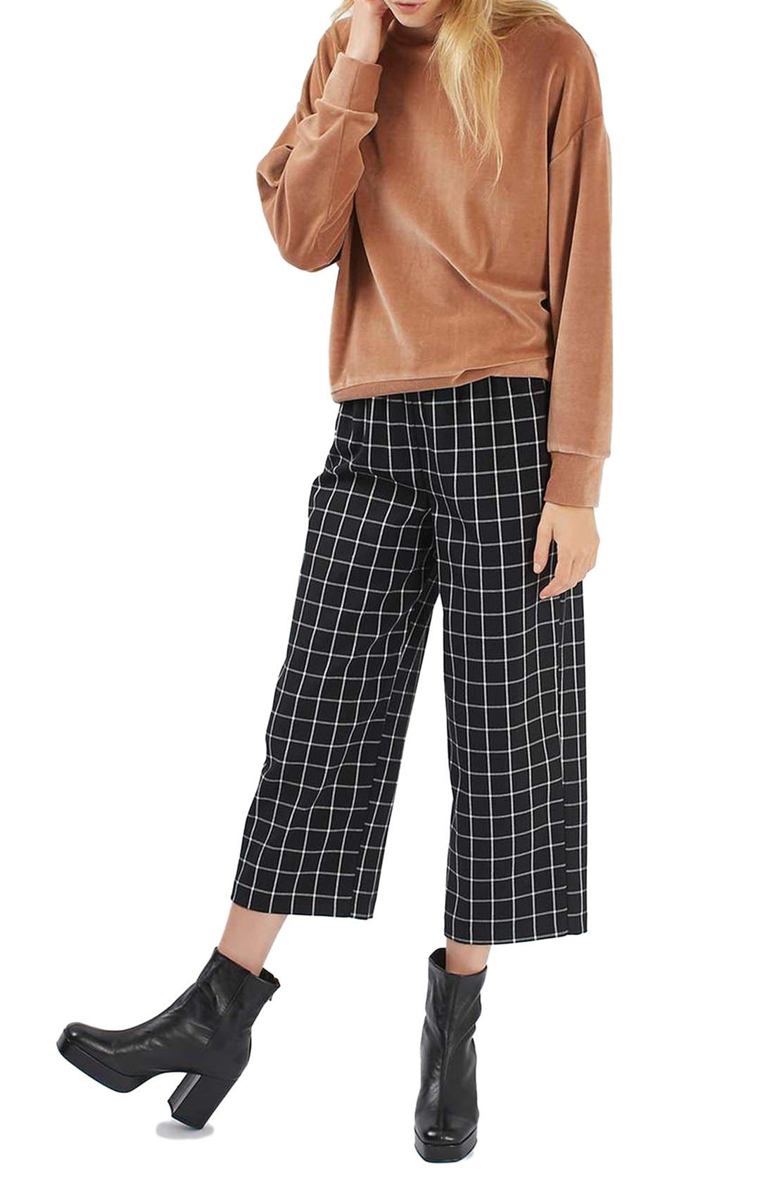 Alternate Image 2  - Topshop Windowpane Wide Leg Pants