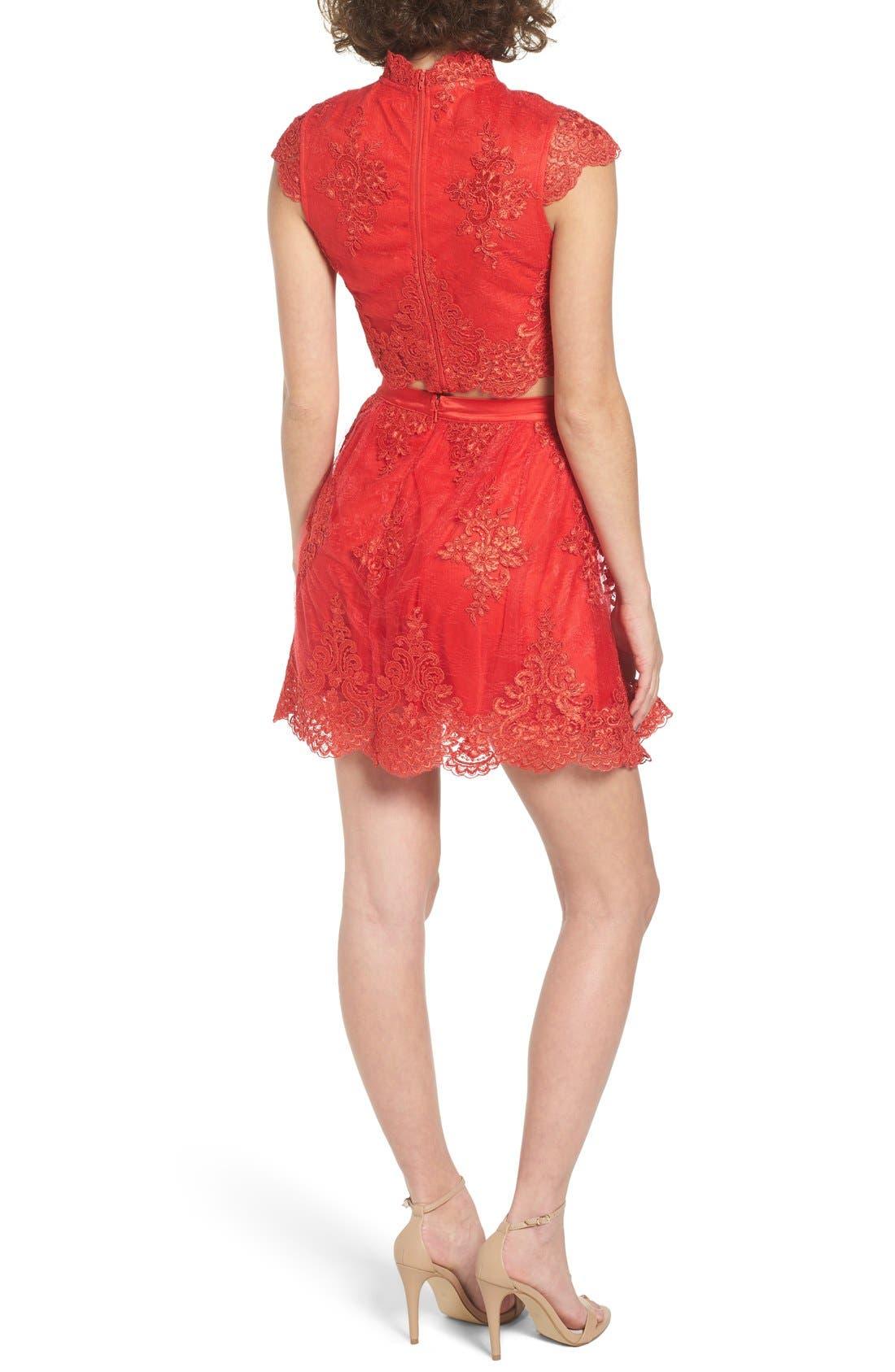 Alternate Image 2  - a. drea Lace Cap Sleeve Two-Piece Skater Dress