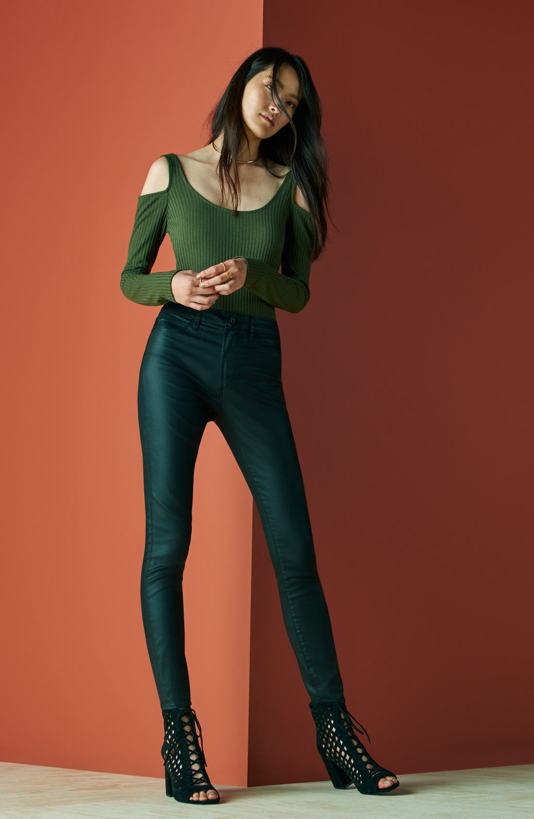 Alternate Image 2  - Articles of Society 'Hailey' High Rise Coated Skinny Jeans