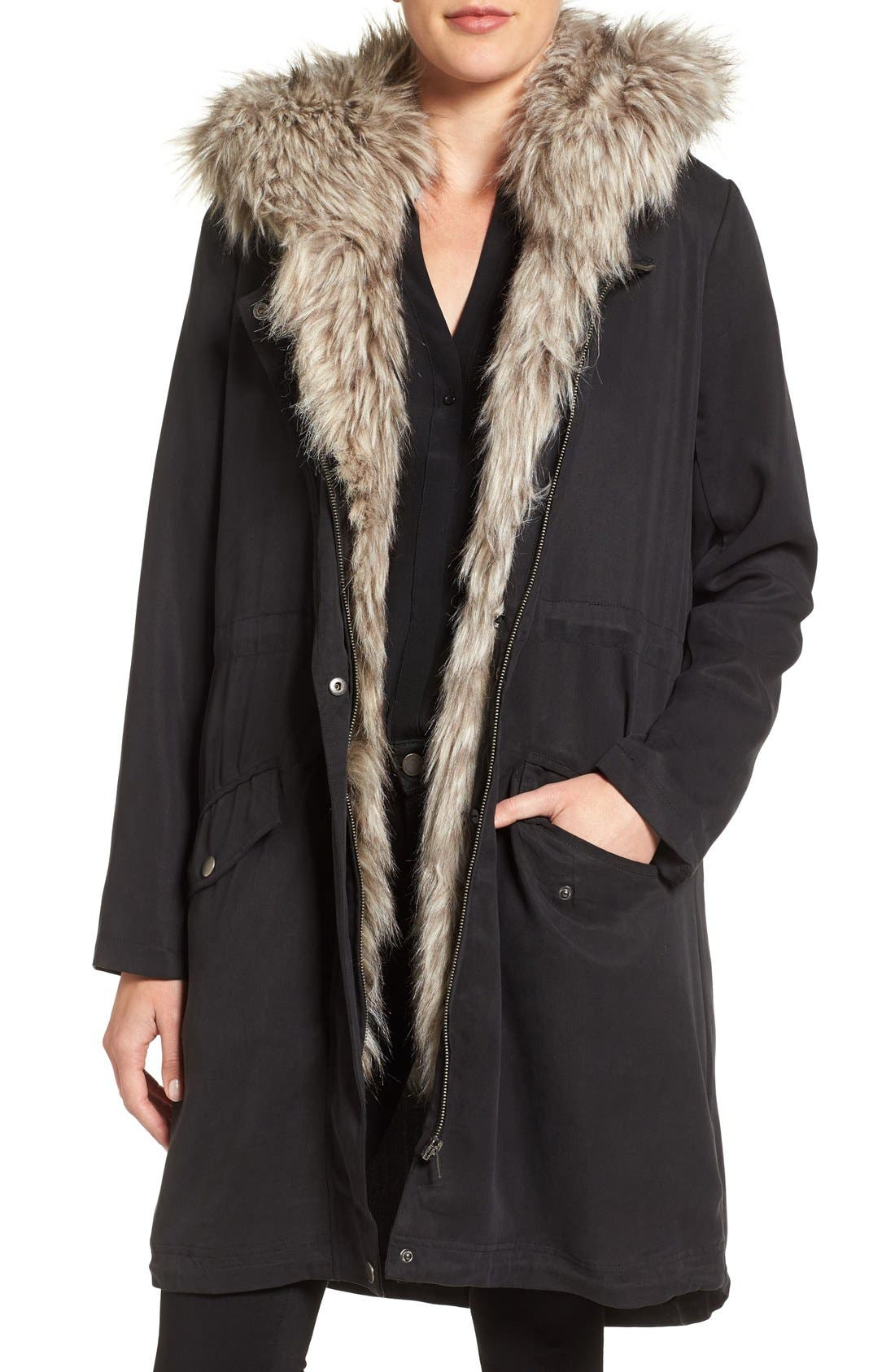 Alternate Image 1 Selected - cupcakes and cashmere Augusta Faux Fur Trim Parka