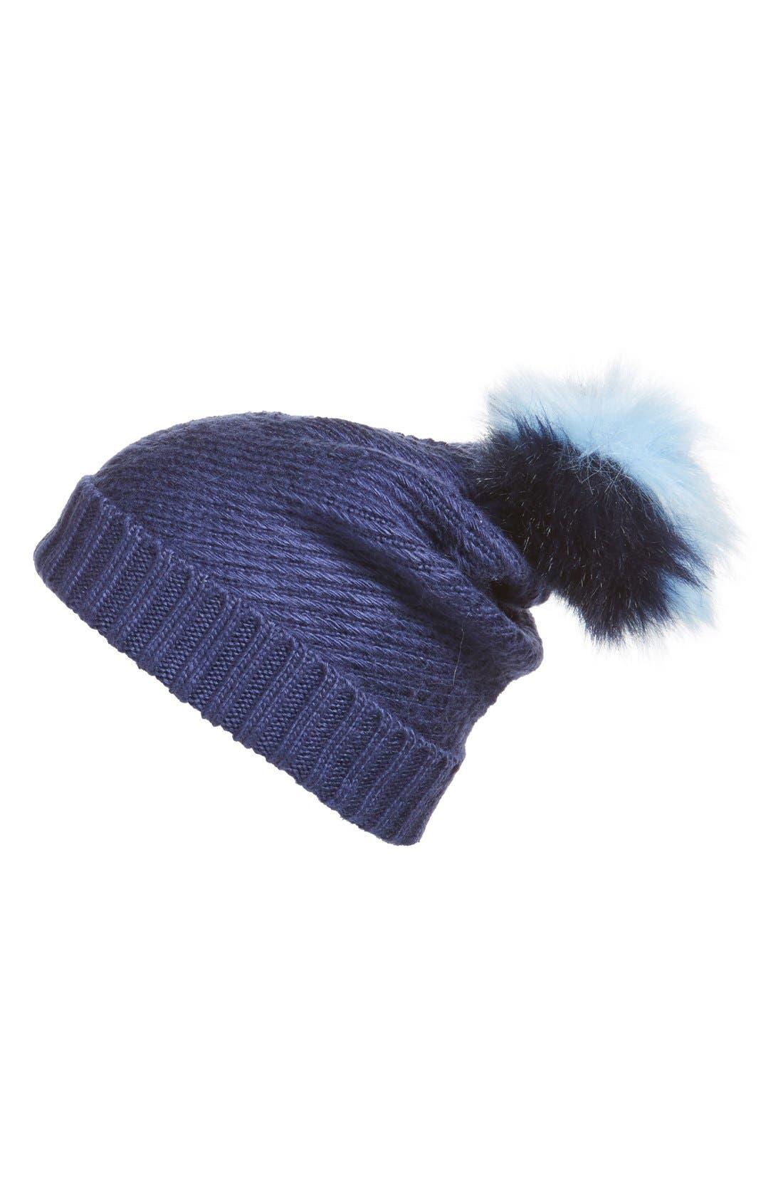 Main Image - BCBG Faux Fur Pompom Knit Beanie