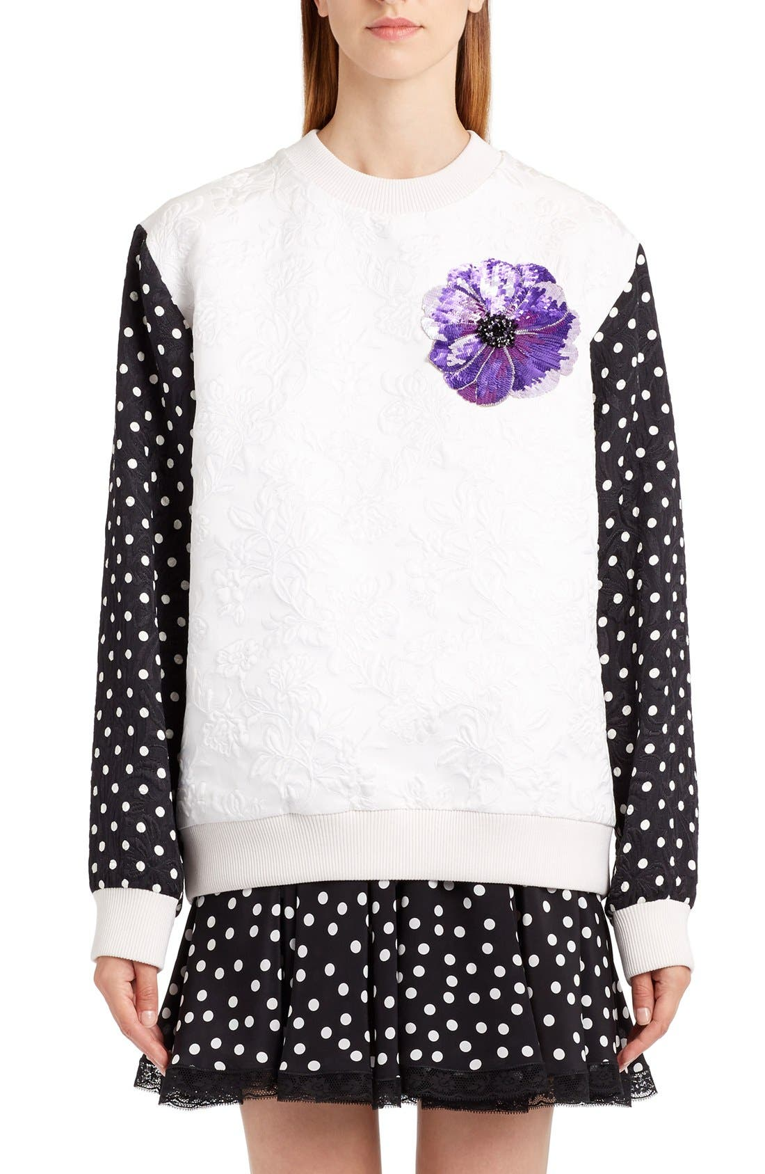 DOLCE&GABBANA Dot Sleeve Embellished Sweatshirt