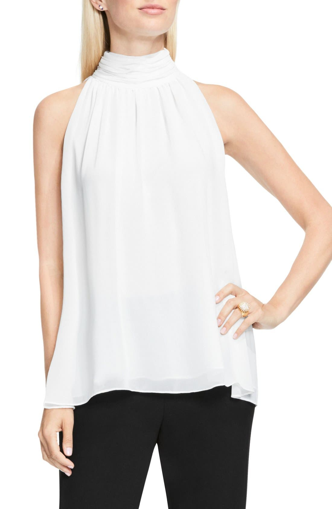 Main Image - Vince Camuto Shirred Neck Halter Blouse