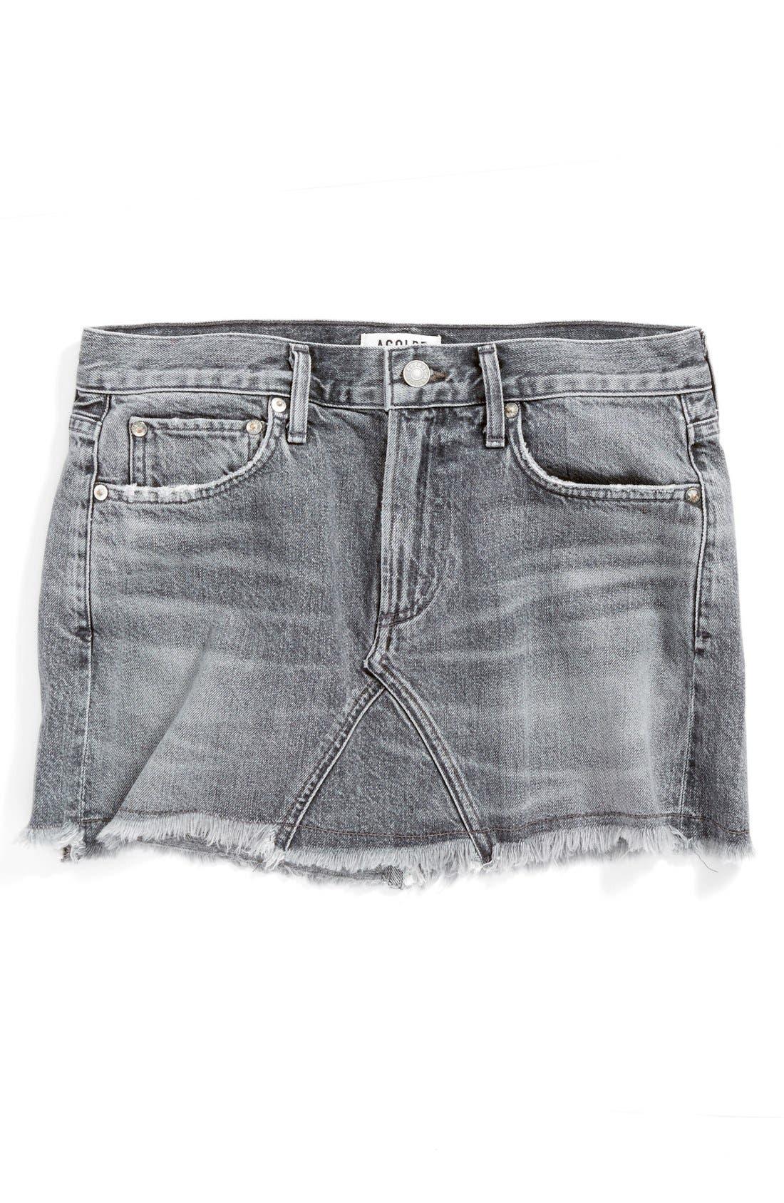 Alternate Image 1 Selected - AGOLDE Jeanette Denim Miniskirt