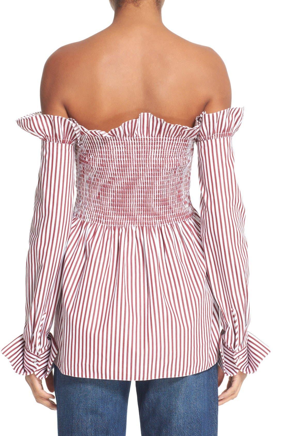 Alternate Image 4  - Victoria, Victoria Beckham Off the Shoulder Smocked Shirt
