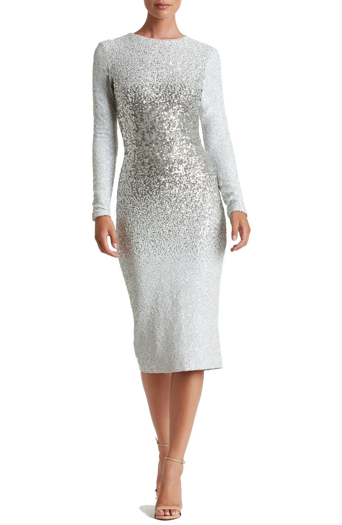Main Image - Dress the Population Brooke Sequin Midi Dress