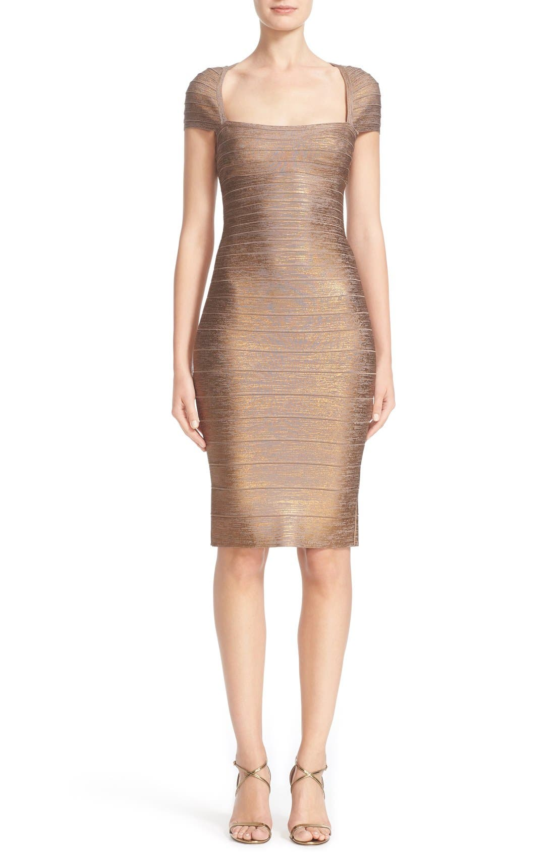 HERVE LEGER Woodgrain Foil Bandage Dress