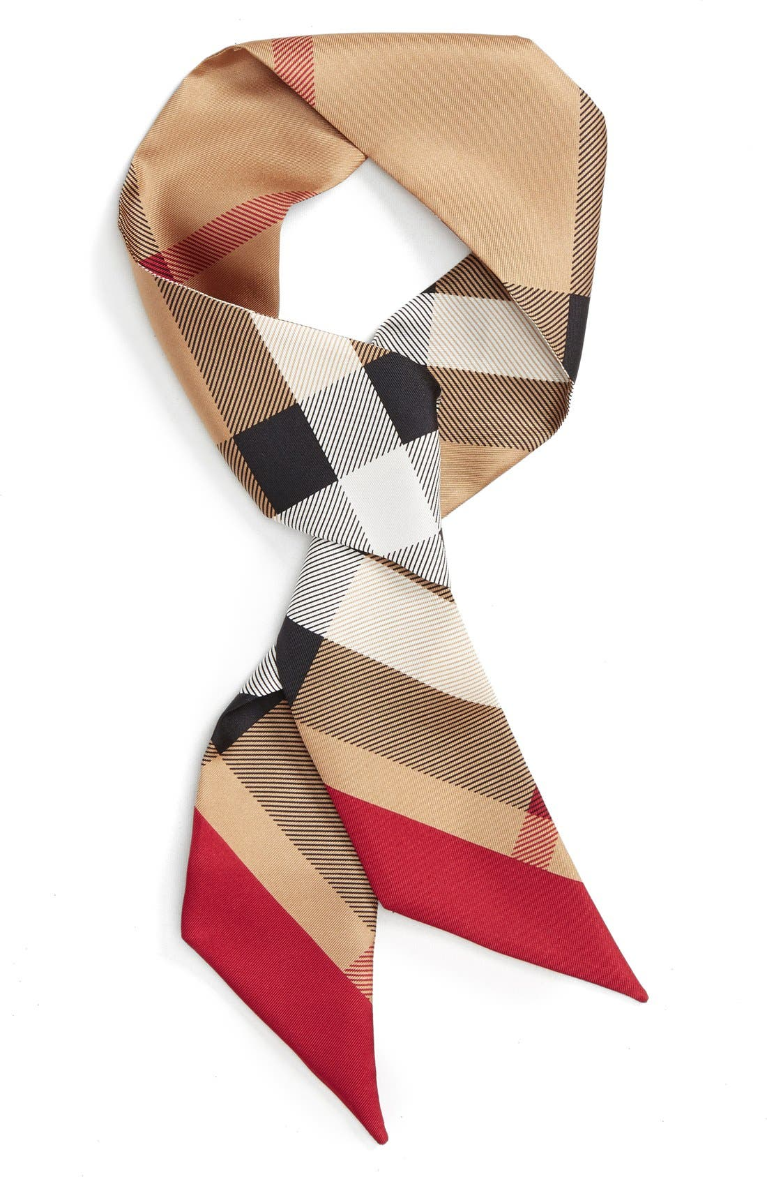 Main Image - Burberry Exploded Check Mulberry Silk Shortie Scarf