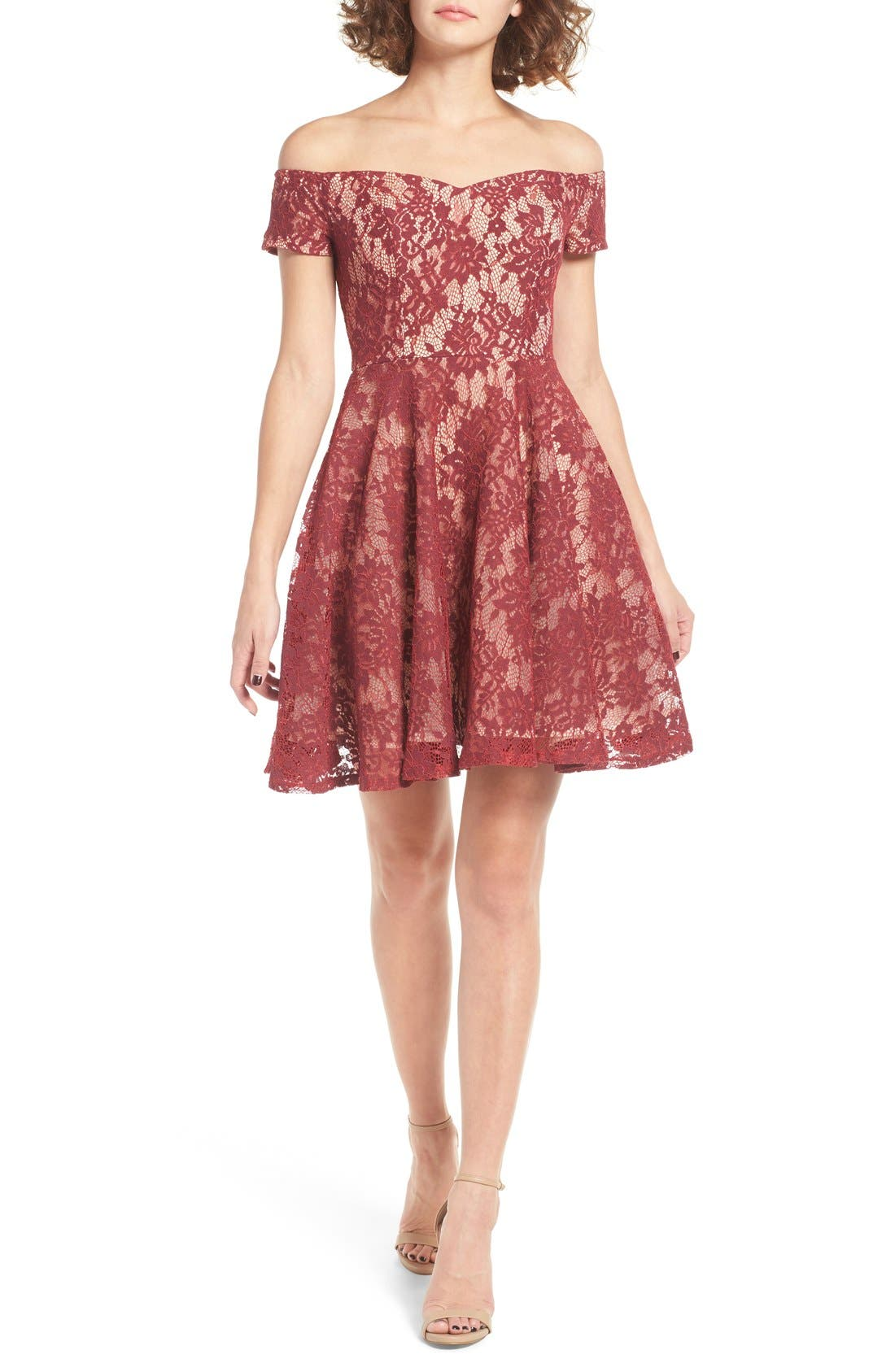 Main Image - Soprano Lace Off the Shoulder Fit & Flare Dress