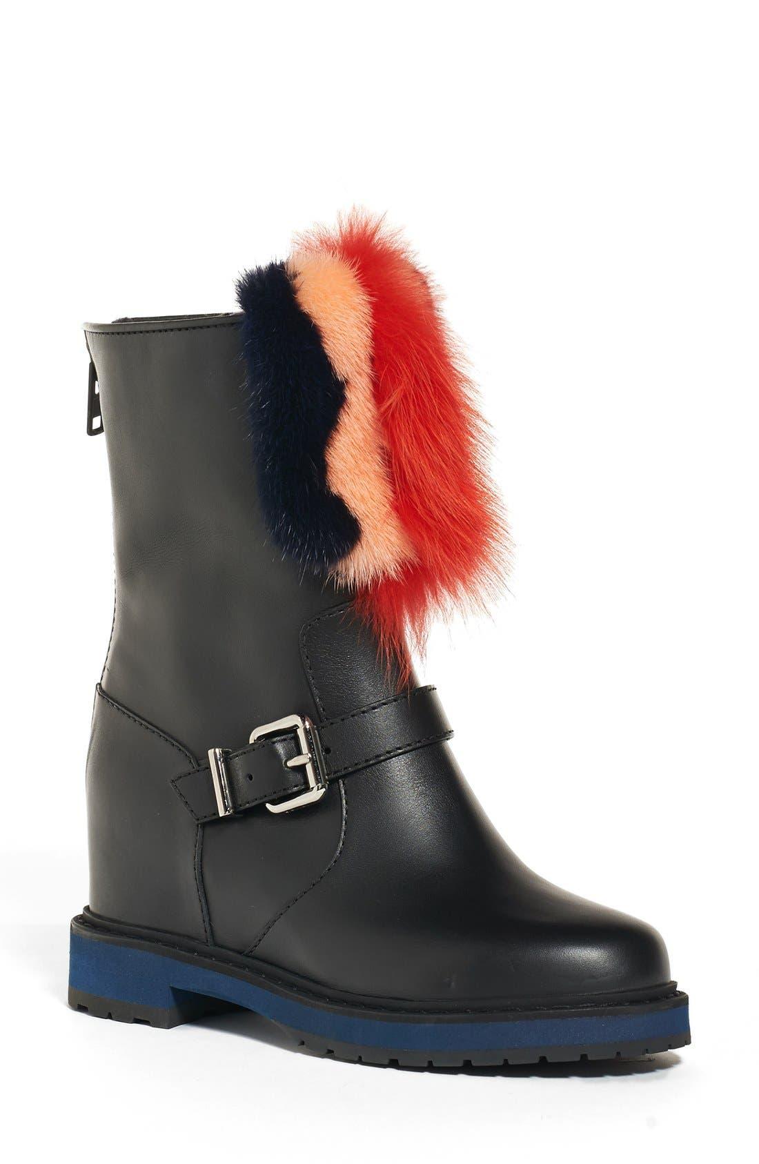 Fendi Caroline Wedge Boot with Genuine Fur Trim (Women)