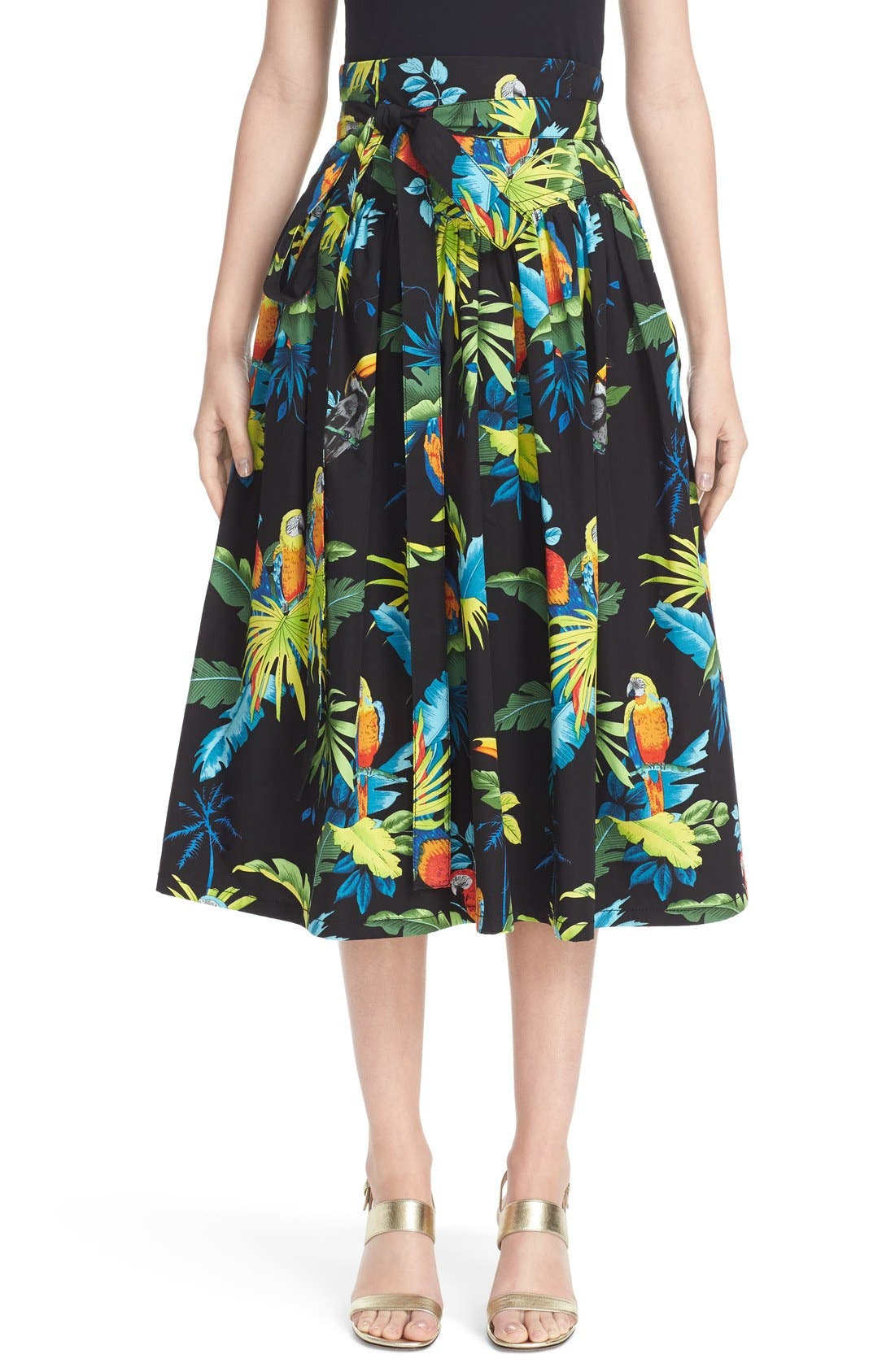 Alternate Image 1 Selected - MARC JACOBS Parrot Print Cotton Poplin Full Skirt
