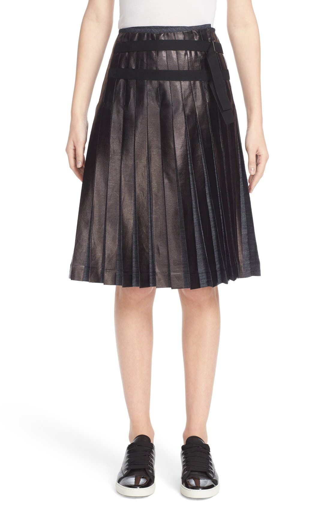 Main Image - Tomas Maier Pleated Lacquered Denim Skirt