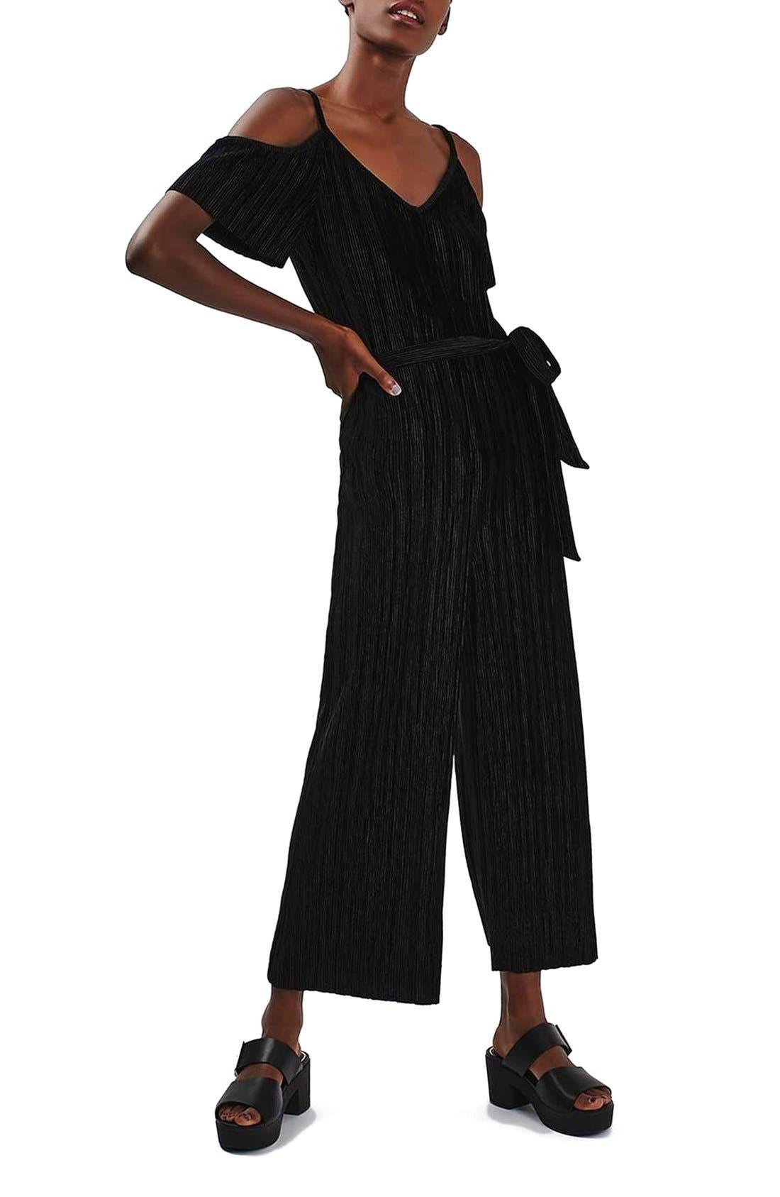 Main Image - Topshop Cold Shoulder Velvet Plissé Jumpsuit