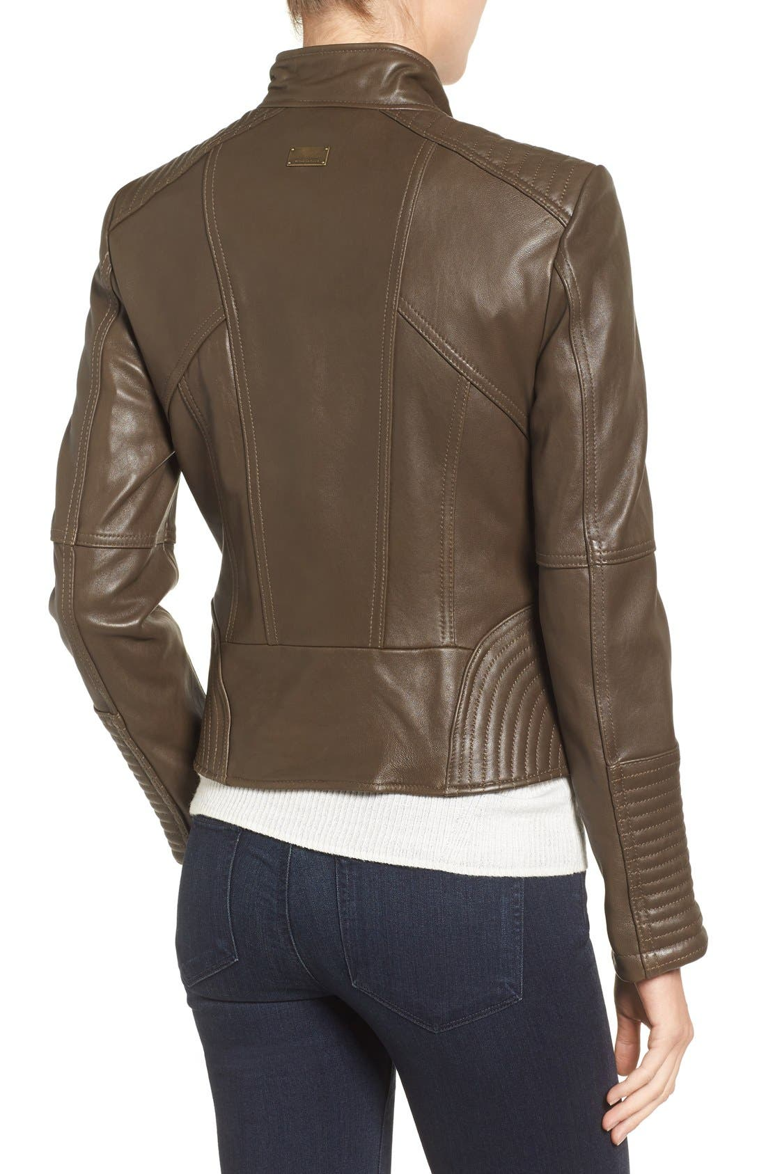 Alternate Image 2  - Vince Camuto Asymmetrical Leather Moto Jacket (Online Only)
