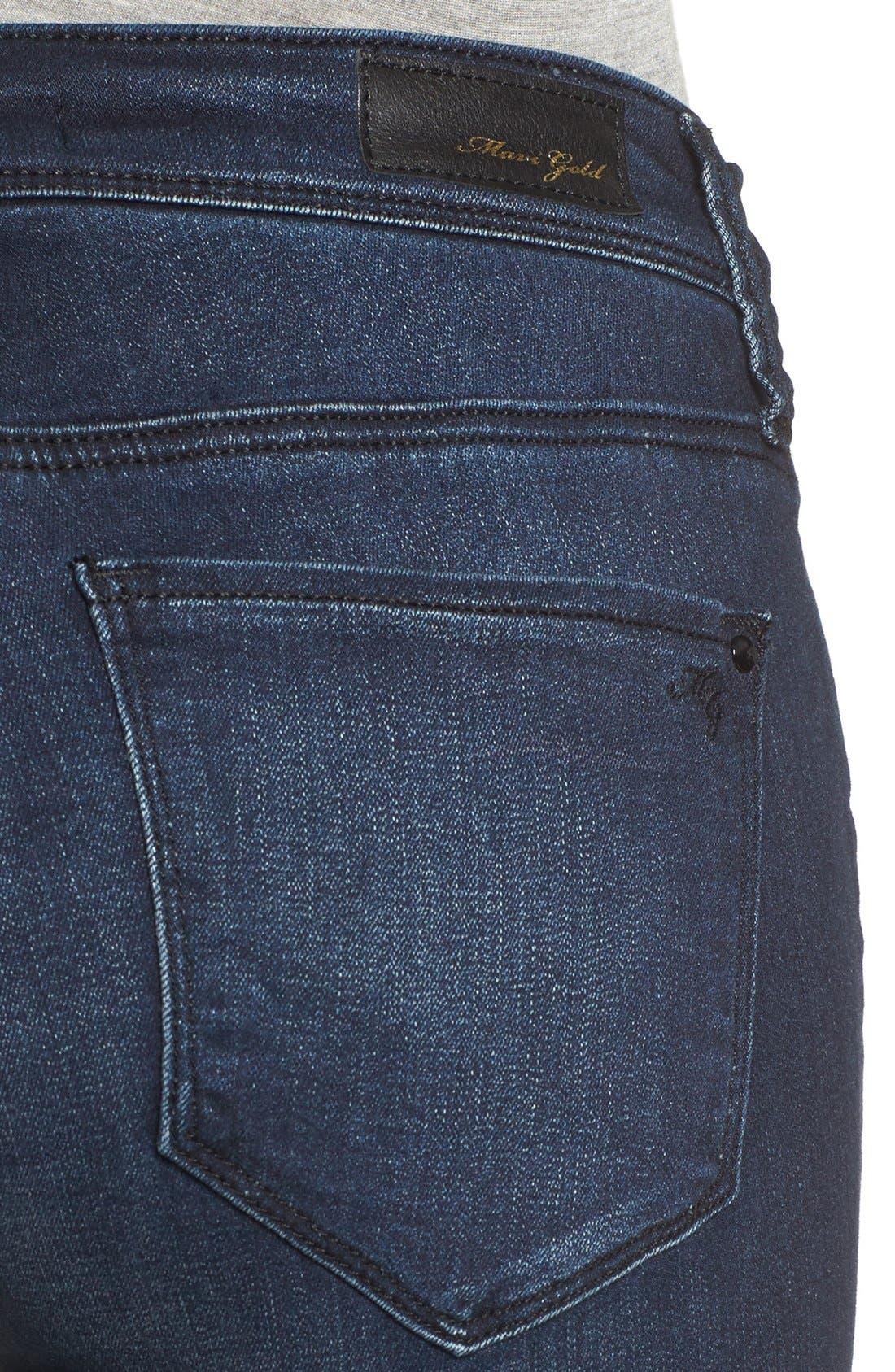 Alternate Image 5  - Mavi Jeans Gold Alexa Stretch Skinny Jeans (Deep Feather) (Regular & Petite)