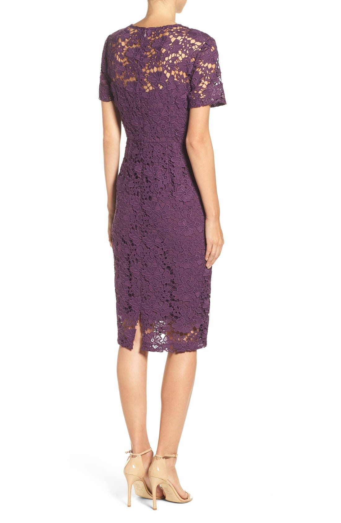 Alternate Image 2  - Donna Morgan Lace Sheath Dress (Regular & Petite)