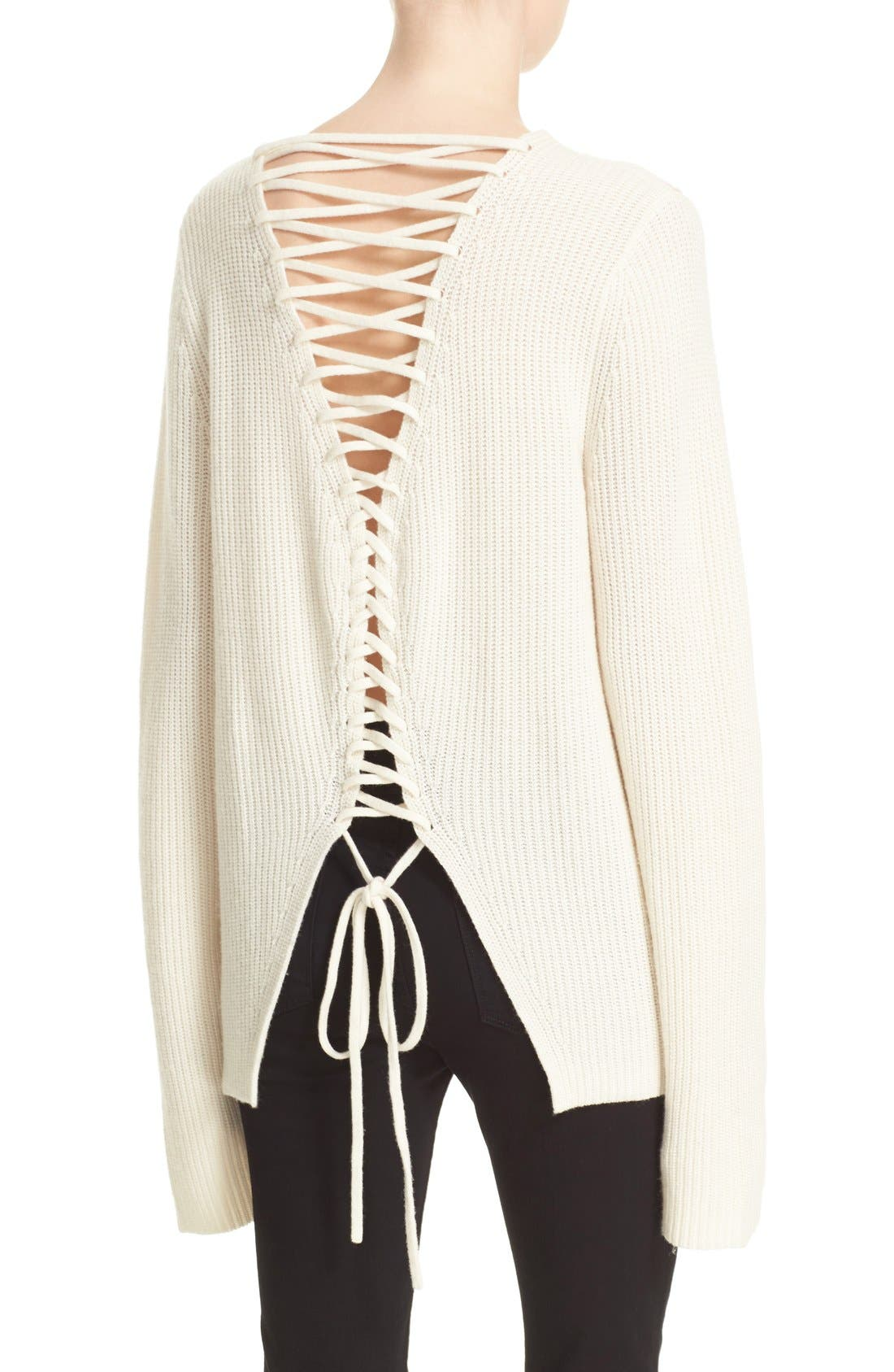 A.L.C. Markell Lace-Up Back Wool & Cashmere Sweater