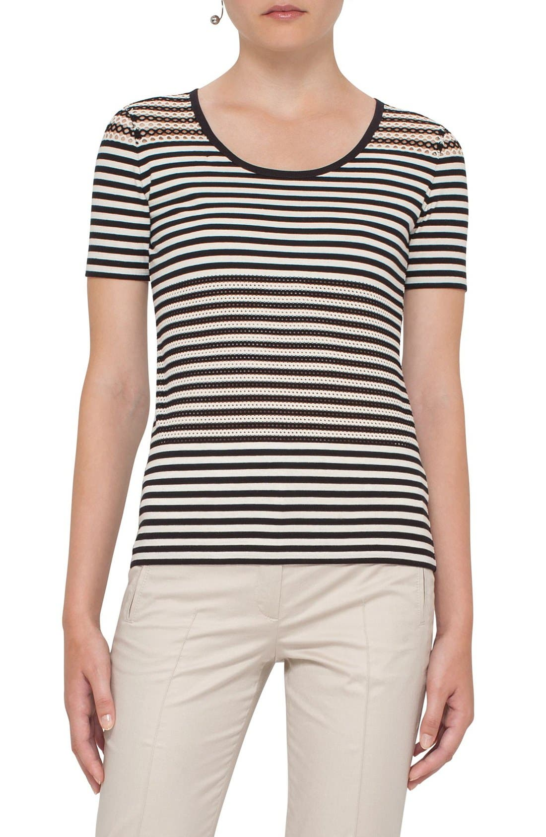 AKRIS PUNTO Lace Detail Stripe Tee