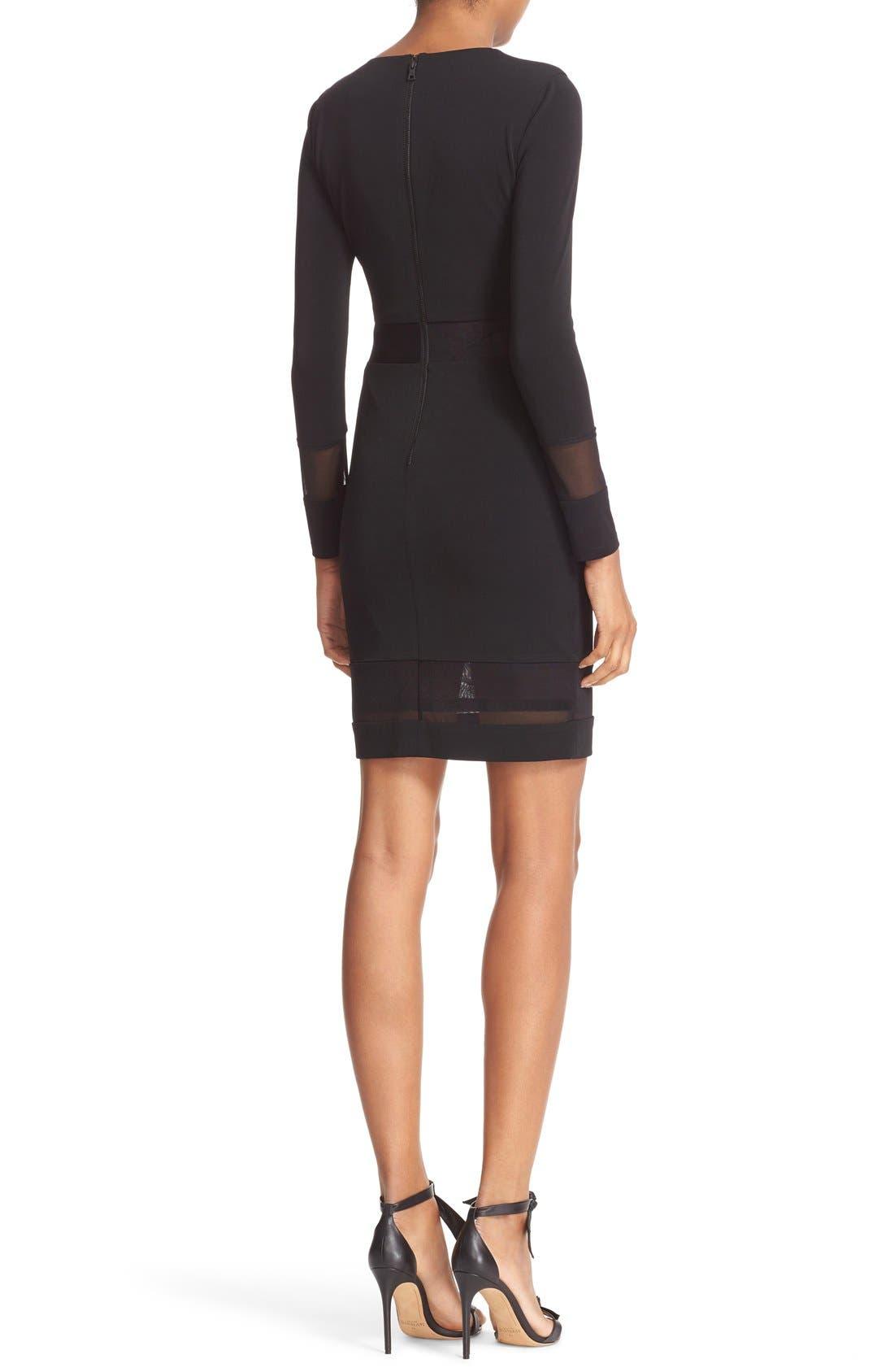 Alternate Image 2  - Alice + Olivia Madie Mesh Panel Body-Con Dress