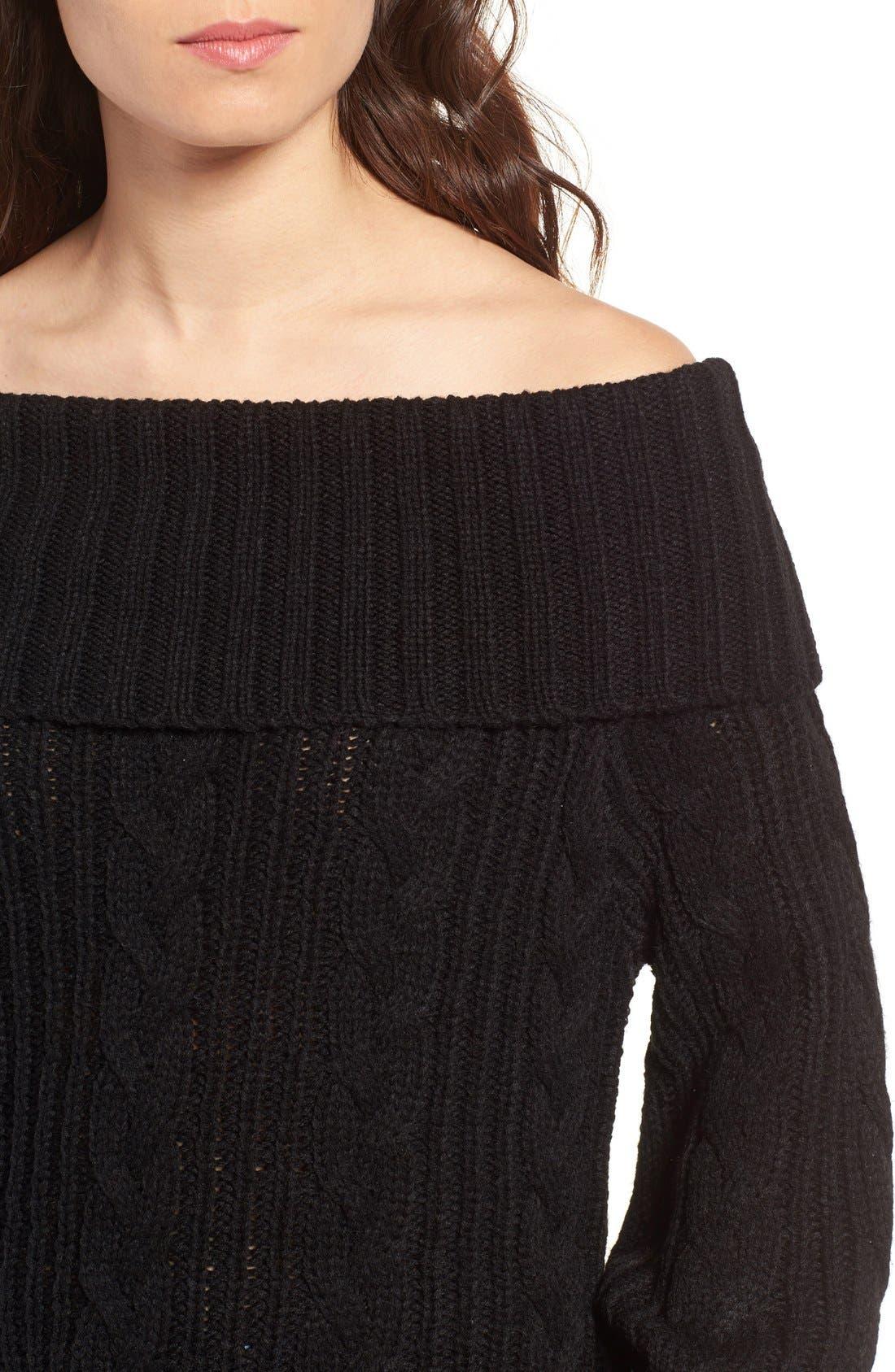 Alternate Image 5  - MOON RIVER Off the Shoulder Sweater