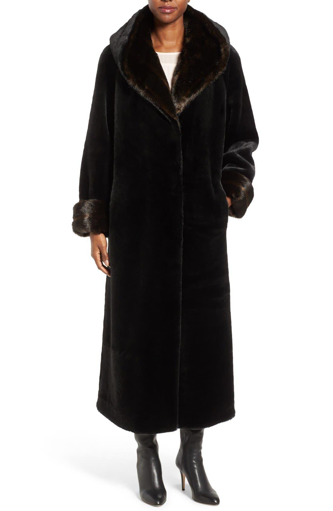 Alternate Image 1 Selected - Gallery Hooded Full-Length Faux Fur Coat
