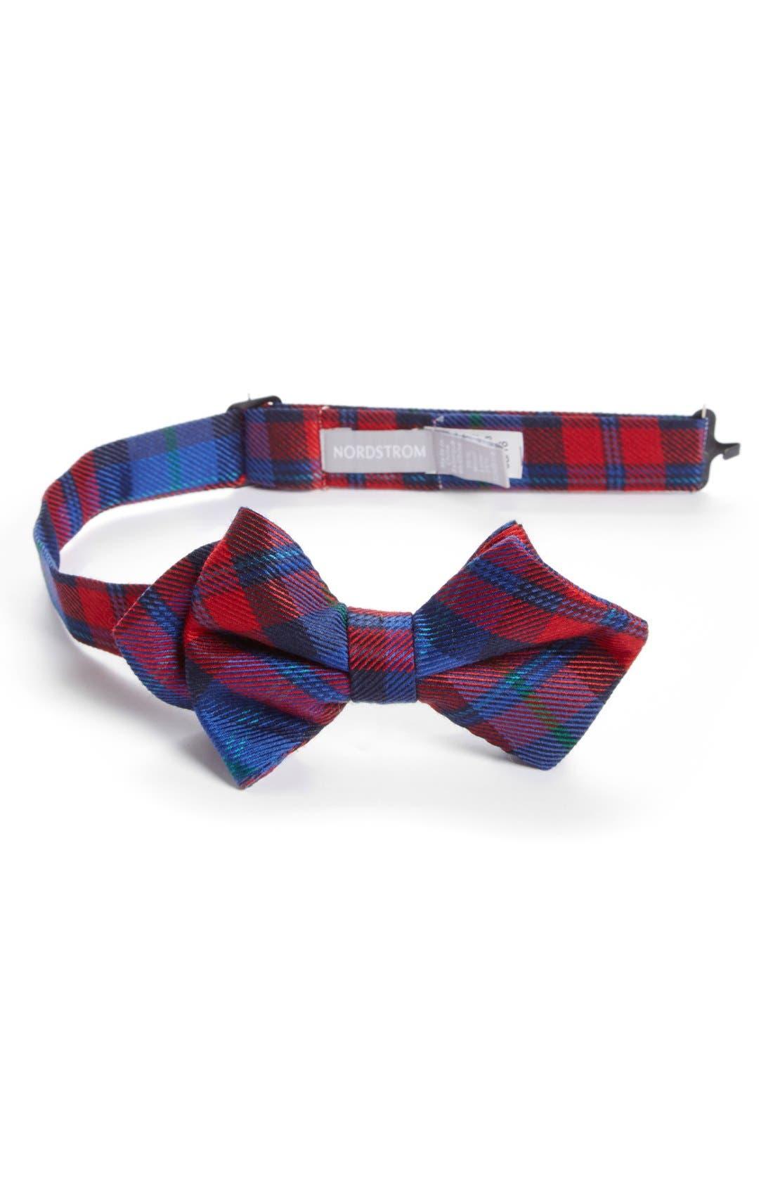 Main Image - Nordstrom Plaid Wool & Silk Bow Tie (Big Boys)