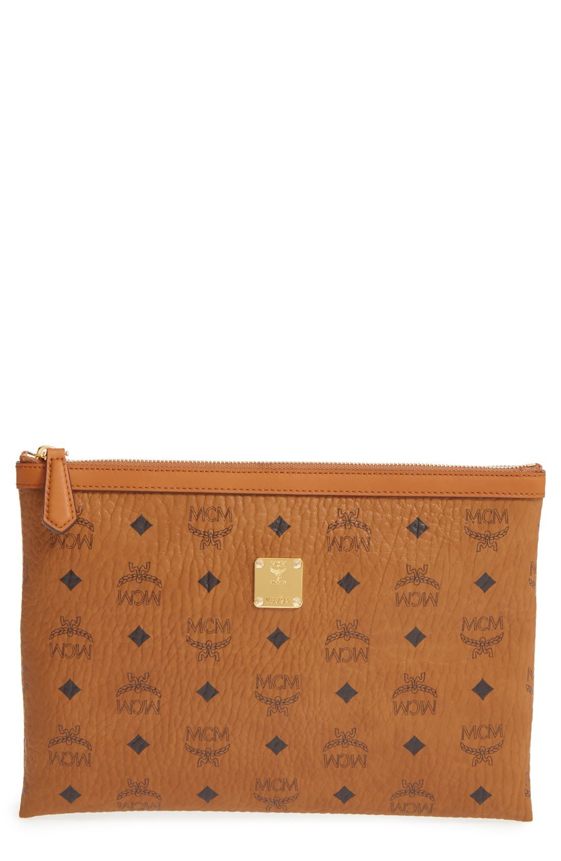 MCM 'Medium Heritage' Top Zip Pouch