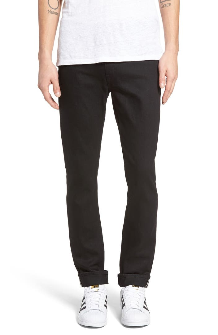 Uniqlo Stretch Selvedge Slim-Fit Jeans Buying a pair of selvedge denim jeans for $50 would be impossible if it weren't for Uniqlo. Like most clothes from the Japan-based retailer, the fit is trim and flattering without being tight.