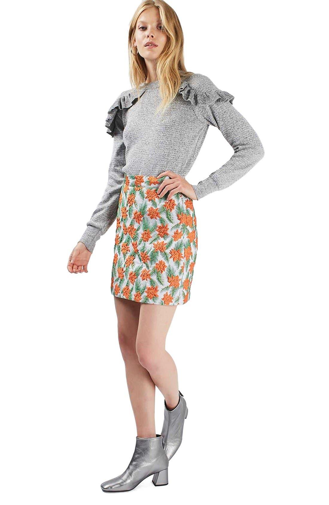 Alternate Image 2  - Topshop Ruffle Shoulder Sweater