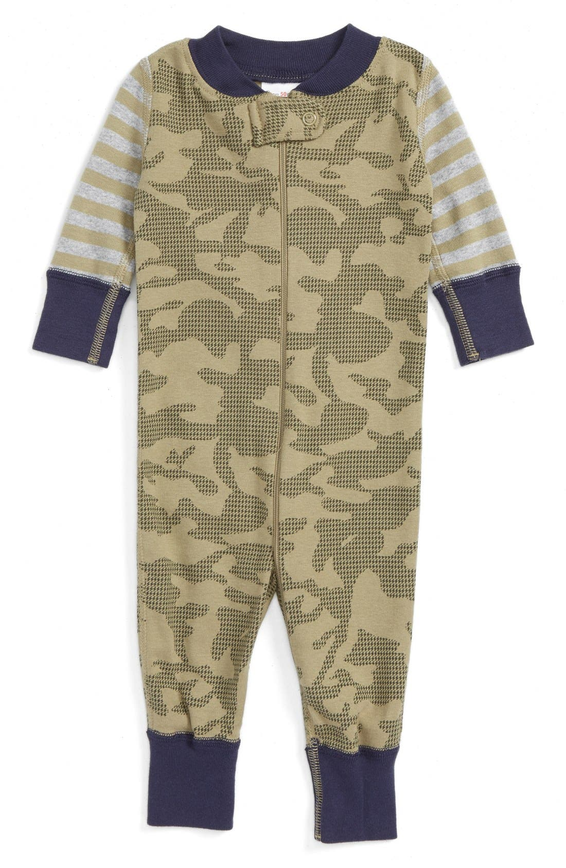 Main Image - Hanna Andersson Organic Cotton Fitted One-Piece Pajamas (Baby Boys)