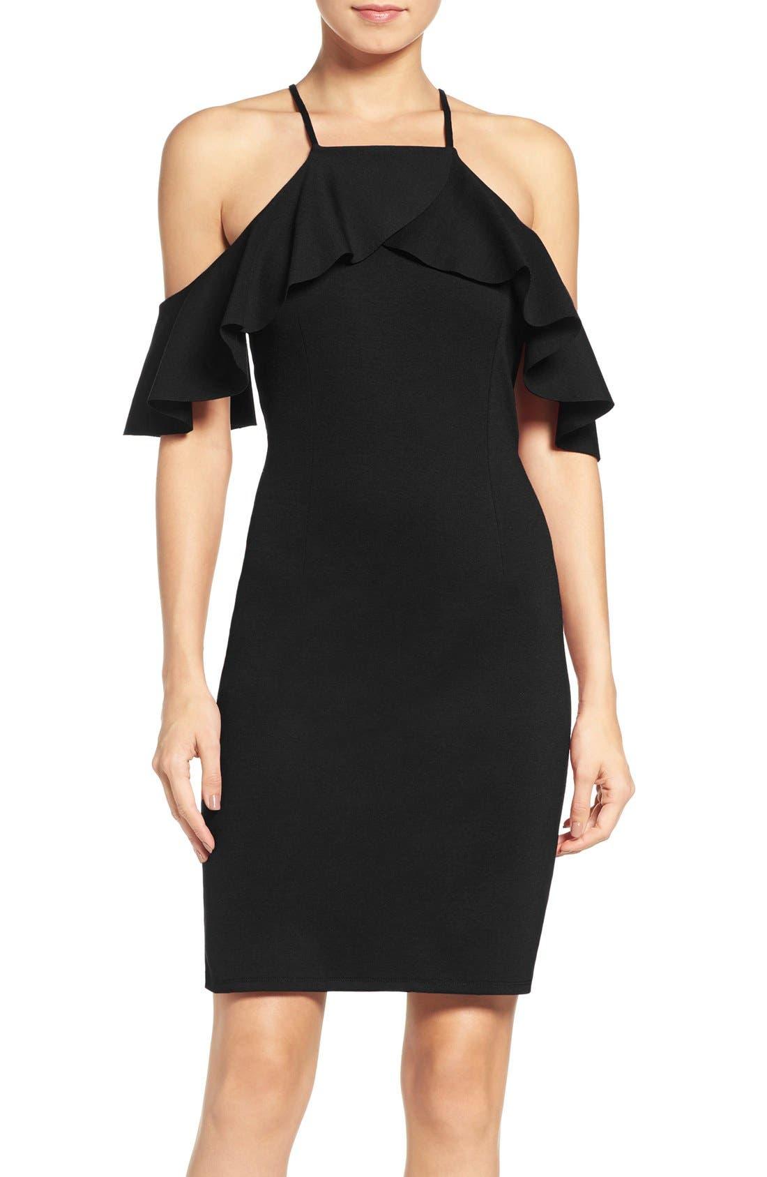 Main Image - NSR Ruffle Cold Shoulder Sheath Dress