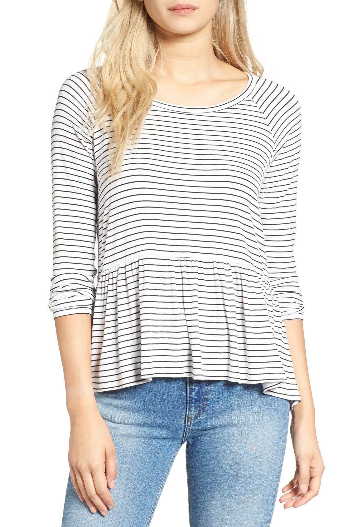 BP. Stripe Peplum Tee