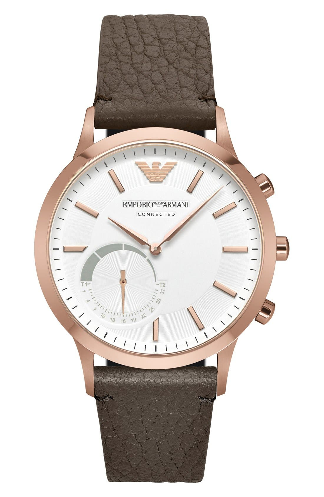 Emporio Armani Leather Strap Hybrid Smart Watch, 43mm