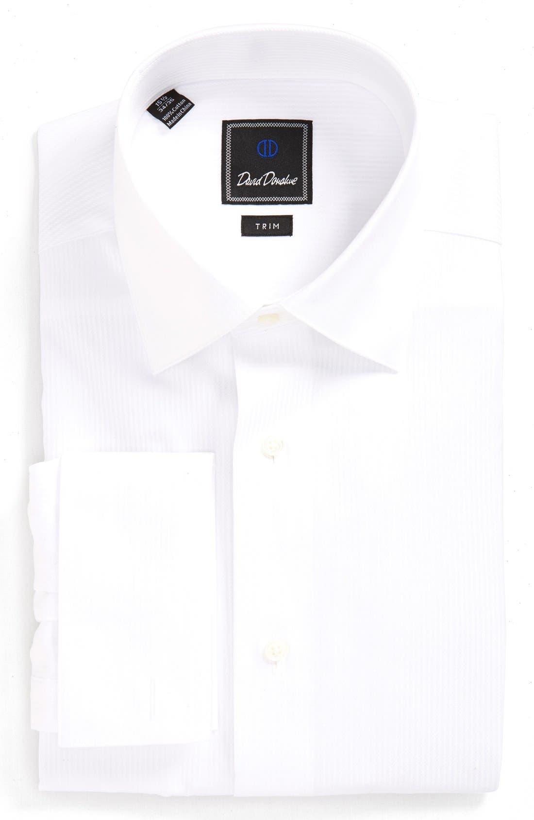 David Donahue Trim Fit Stripe Tuxedo Shirt