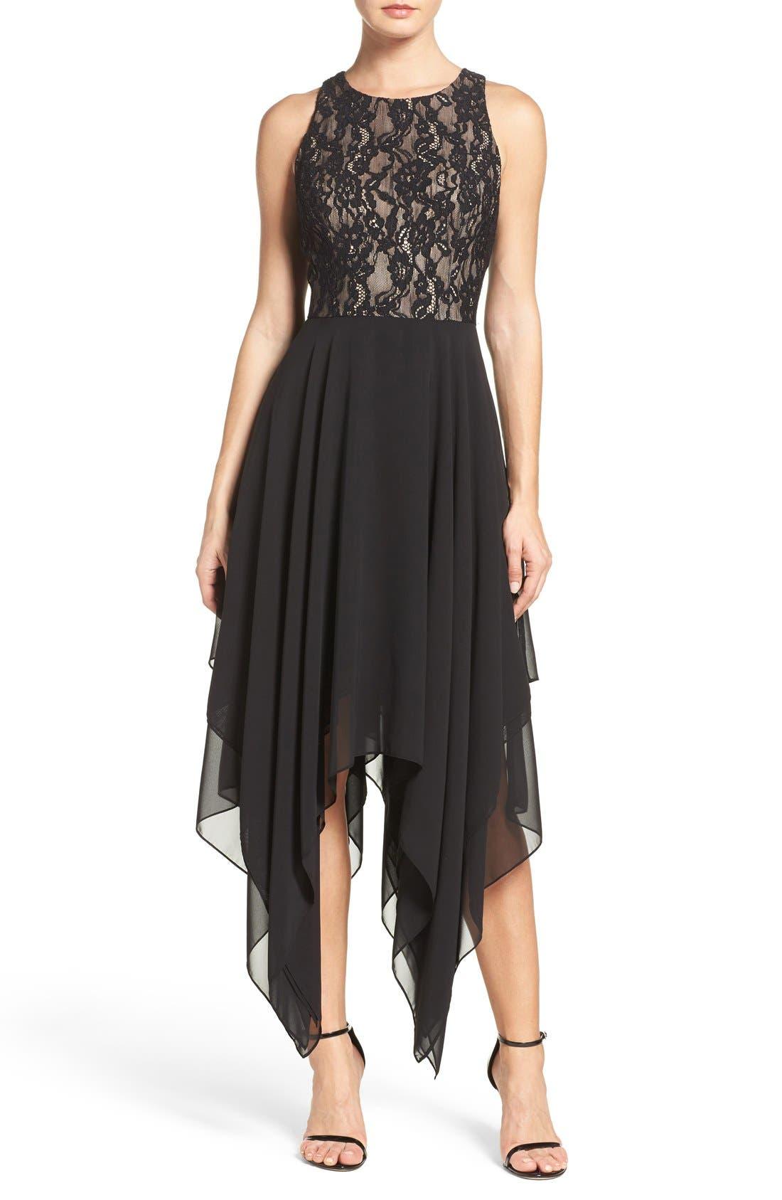 Alternate Image 1 Selected - Aidan by Aidan Mattox Lace & Chiffon Midi Dress