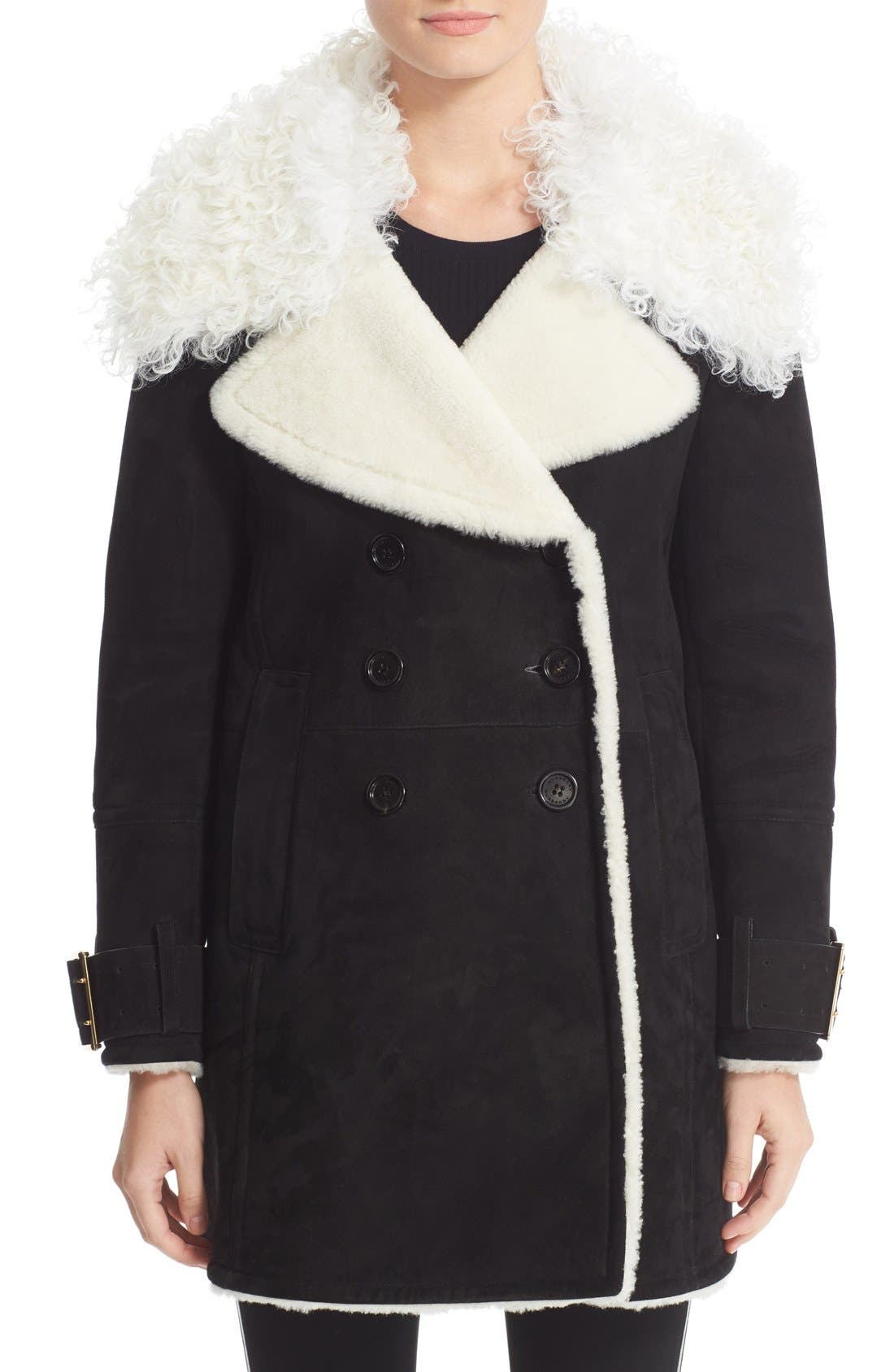 Main Image - Burberry Norhurst Suede Coat with Genuine Shearling Trim