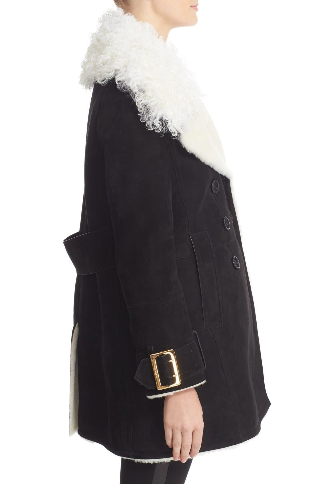 Alternate Image 5  - Burberry Norhurst Suede Coat with Genuine Shearling Trim