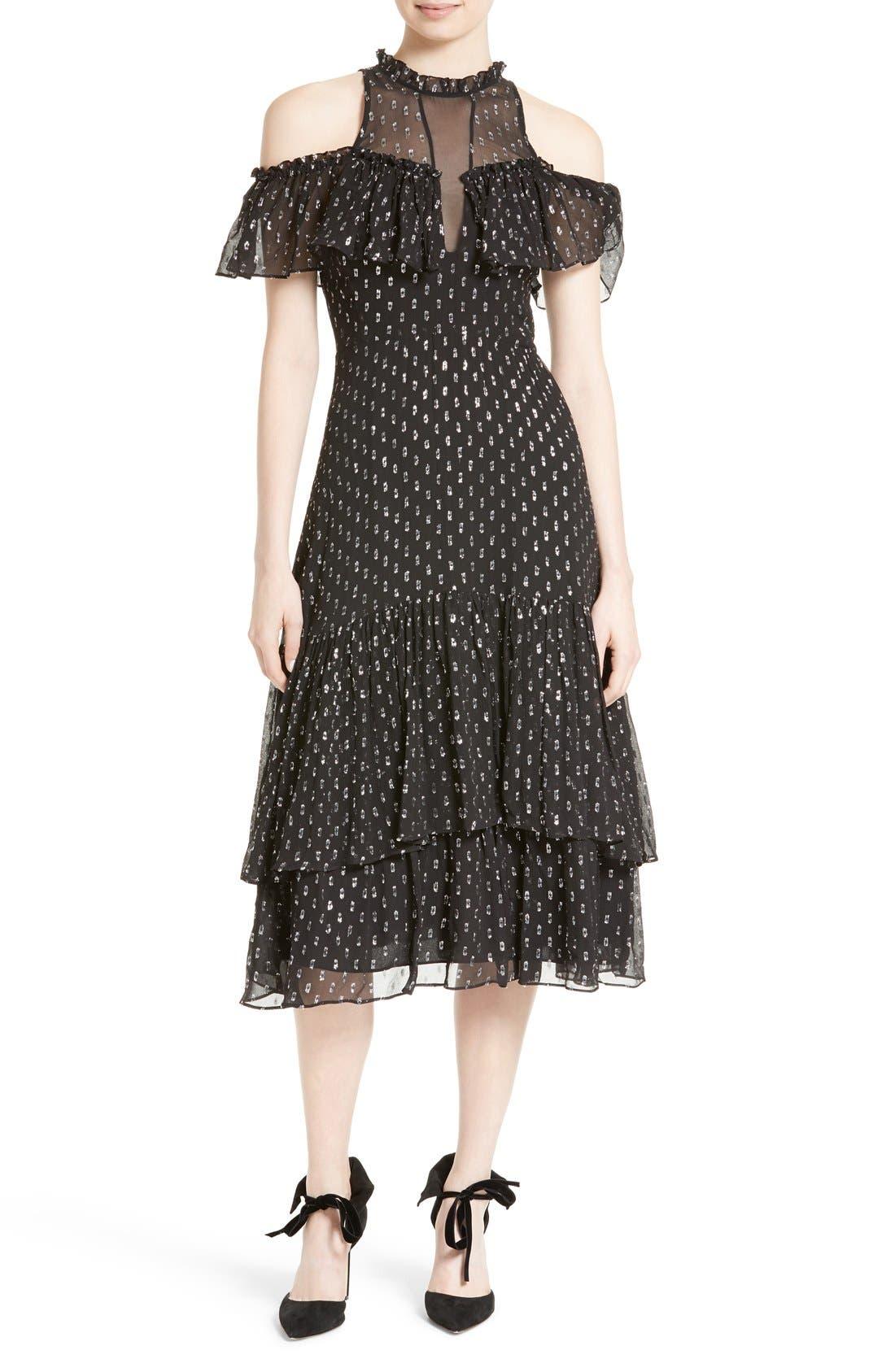 Alternate Image 1 Selected - Rebecca Taylor Metallic Clip Midi Dress