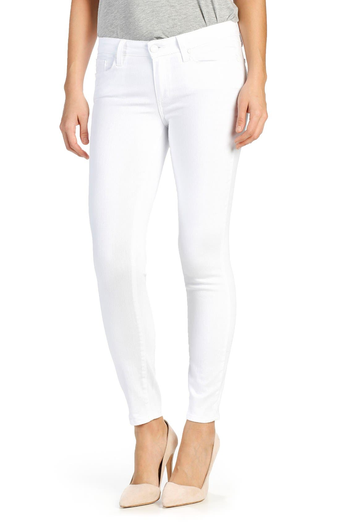 Alternate Image 1 Selected - PAIGE Verdugo Ankle Skinny Jeans (Distressed Ultra White)