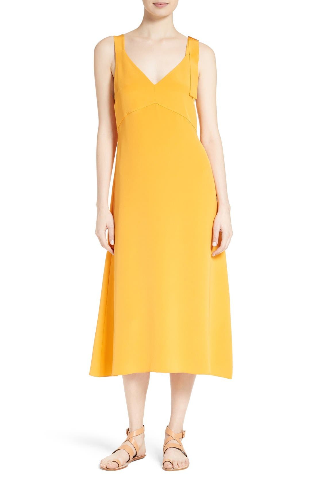 Tibi Trapeze Silk Midi Dress