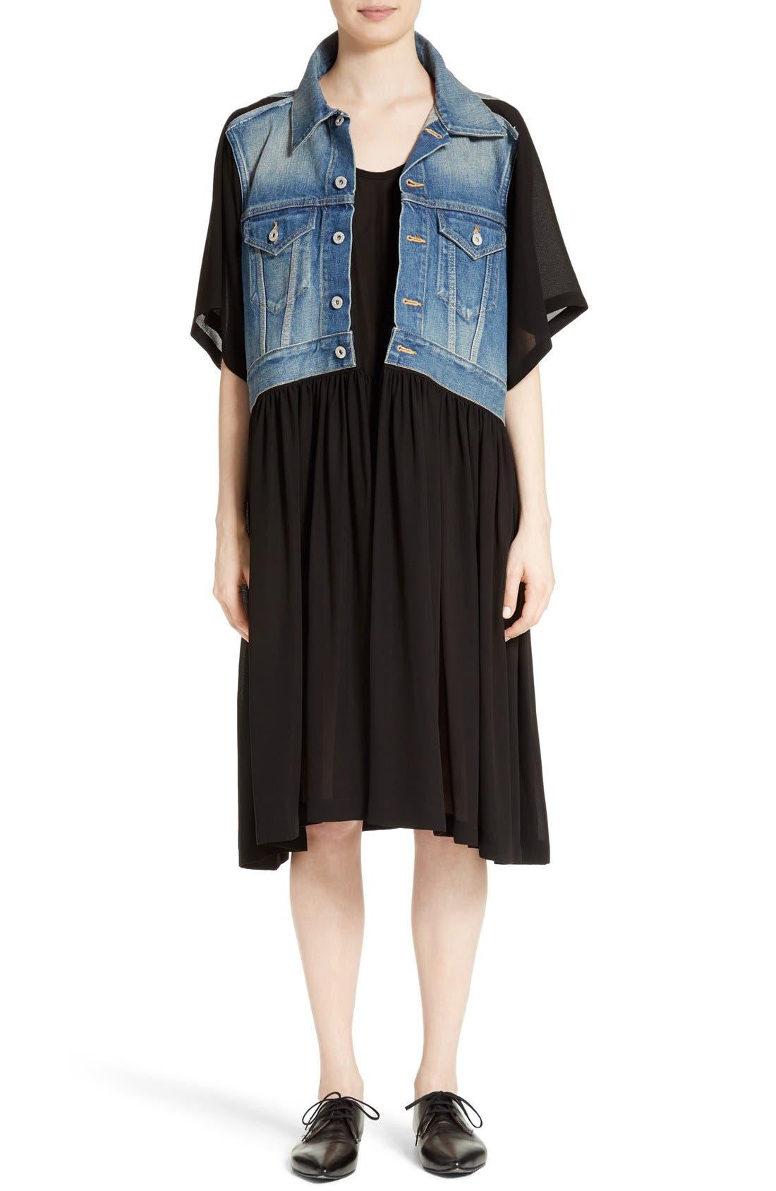 JUNYA WATANABE Layered Denim & Georgette Dress