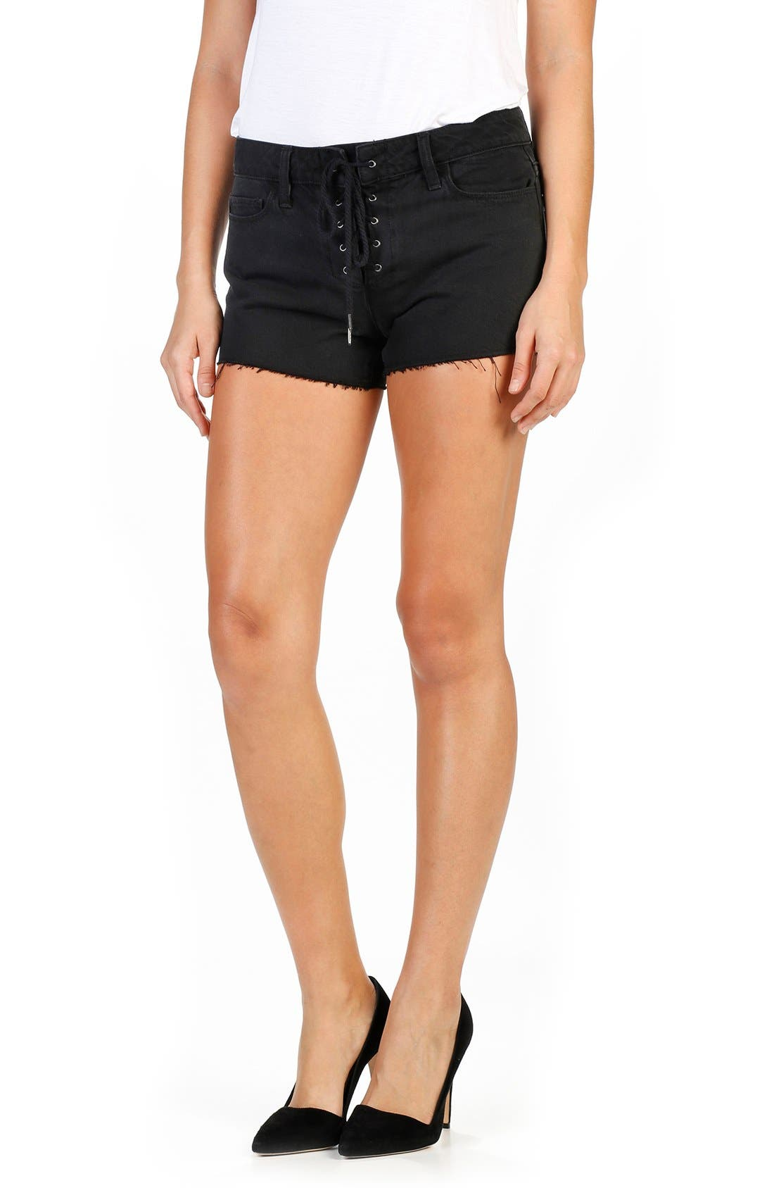 PAIGE Iris Lace-Up Cutoff Denim Shorts